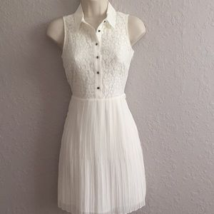Cream Dress w/ Lace Top w/ buttons, Pleated Bottom